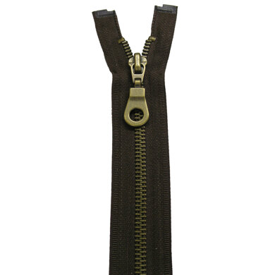 """Fashion Coat And Jack Zip With Antique Brass Metal Teeth 55cm/22"""" - Black (580)"""