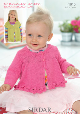 Girls and Babies Round Neck Cardigans in Sirdar Snuggly Baby Bamboo DK - 1915