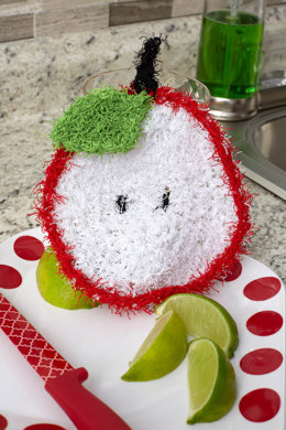 Sliced Apple Scrubby in Red Heart Scrubby Solids - LW5570