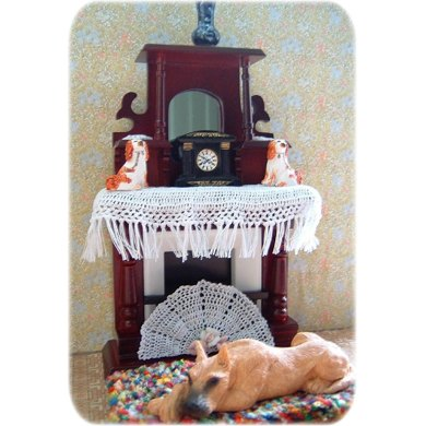 1:12th scale Victorian mantel cover, mats & fan