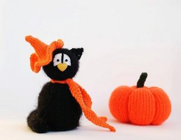 Black Cat in the orange Hat - halloween knitting pattern (knitted round)