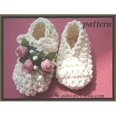 Pleated Top Baby Booties | Crochet Pattern by Ashton11