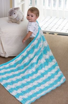 Baby Boy Chevron Blanket in Red Heart Soft Baby Steps Solids - LW4304