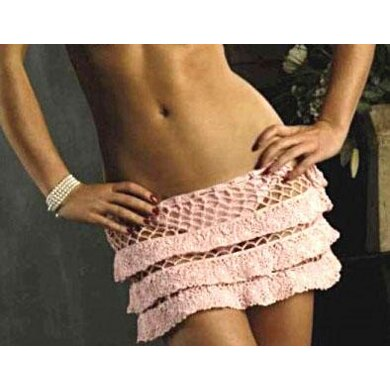Crochet pin-up lacy ruffled skirt with mesh details.
