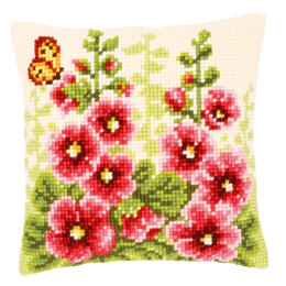 Vervaco Hollyhocks Cushion Front Cross Stitch Kit