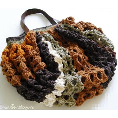 Striped crochet hobo market bag