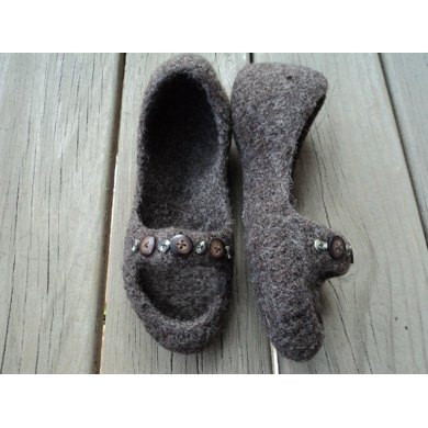 Peep Toe Slippers Felted Knit for Women