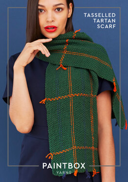 Tasseled Tartan Scarf in Paintbox Yarns Cotton Aran - Downloadable PDF