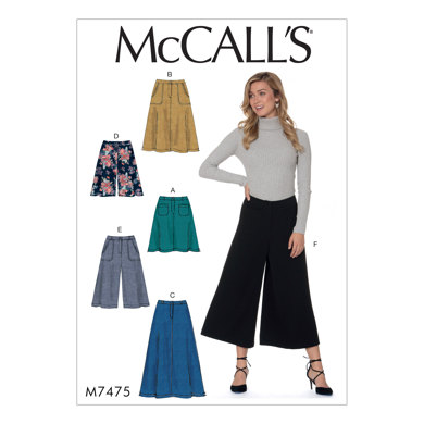 McCall's Misses' Flared Skirts, Shorts and Culottes M7475 - Sewing Pattern