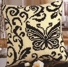 Vervaco Black Butterfly Cushion Front Chunky Cross Stitch Kit - 40cm x 40cm
