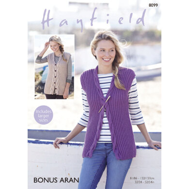 Woman's Waistcoats in Hayfield Bonus Aran - 8099 - Downloadable PDF