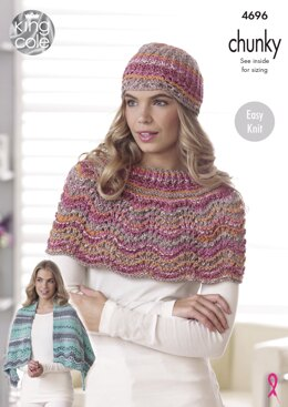 Square Shawl/Blancket, Oblong Shawl, Shoulder Wrap & Hat in King Cole Drifter Chunky - 4696 - Downloadable PDF