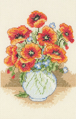 Anchor XS Starters - Poppy Vase Cross Stitch Kit - 15cm x 15cm