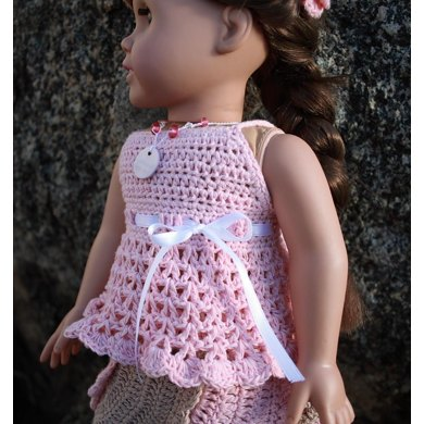 "Lacy babydoll top for American girl 18"" dolls"