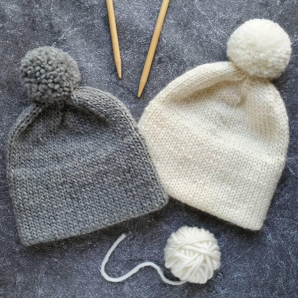 Double Brim Knit Pom Pom Hat Knitting Pattern By Natalya1905
