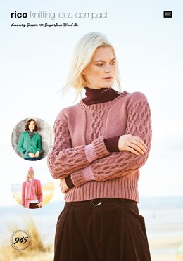 Ladies Sweater, Cardigan, Scarf and Hat in Rico Luxury Super 100 DK - 945 - Downloadable PDF