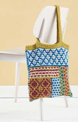 Slip Stitch Mosaic Tote in Lion Brand Kitchen Cotton - L20288
