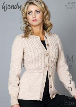 Fitted Cardigan in Wendy Merino DK - 5530
