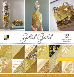 """American Crafts DCWV Double-Sided Cardstock Stack 12""""X12"""" 36/Pkg - Solid Gold, 18 Designs/2 Each"""