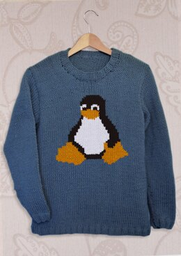 Intarsia - Tux the Penguin Chart - Adults Sweater