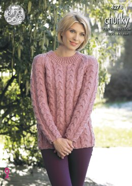 Cabled Raglan Cardigan & Sweater in King Cole New Magnum Chunky - 4278 - Downloadable PDF