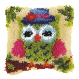 Orchidea Green Owl Latch Hook Cushion Kit - ORC.4005