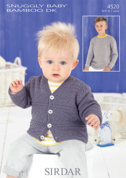 Cardigan and Sweater in Sirdar Snuggly Baby Bamboo DK - 4520 - Downloadable PDF