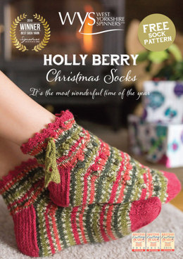 Hollyberry Christmas Socks in West Yorkshire Spinners Signature 4 Ply - Downloadable PDF