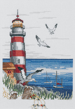 Permin Lighthouse & Seagulls Cross Stitch Kit - 20cm x 28cm