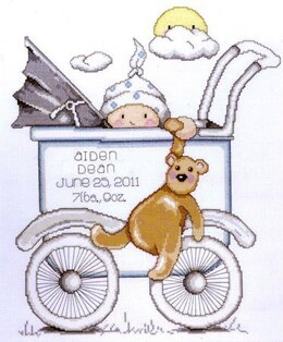 Design Works Blue Buggy Birth Sampler Cross Stitch Kit