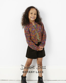 """""""Girls Cropped Lace Cardigan"""" - Cardigan Knitting & Crochet Pattern in Debbie Bliss Botany Lace - DB128 - Leaflet"""