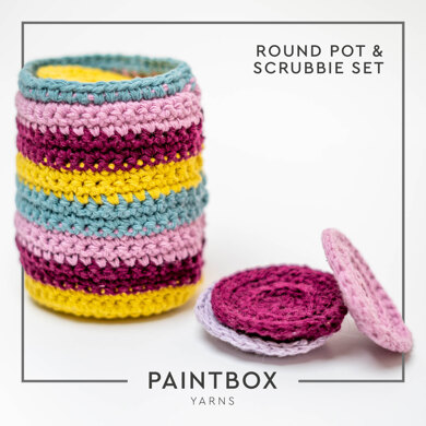 Round Pot & Scrubbie Set in Paintbox Yarns Recycled Cotton Worsted - Downloadable PDF