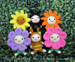 Bee, sunflowers and ladybug amigurumi crochet pattern