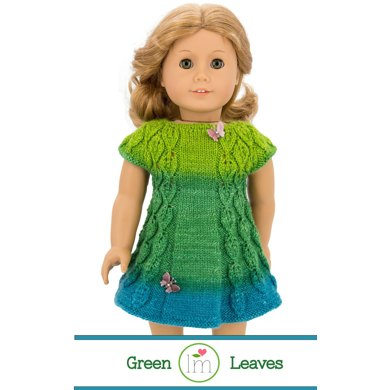 Green Leaves Dress For 18 Inch Dolls Doll Clothes Knitting Pattern
