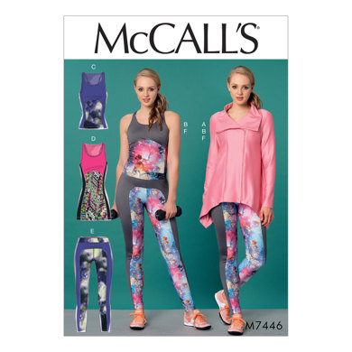 McCall's Misses' Jacket, and Seam-Detail Tank Tops, Tunic and Leggings M7446 - Sewing Pattern