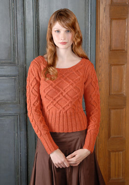 Woman's Aran Sweater in Blue Sky Fibers Worsted Hand Dyes - Downloadable PDF