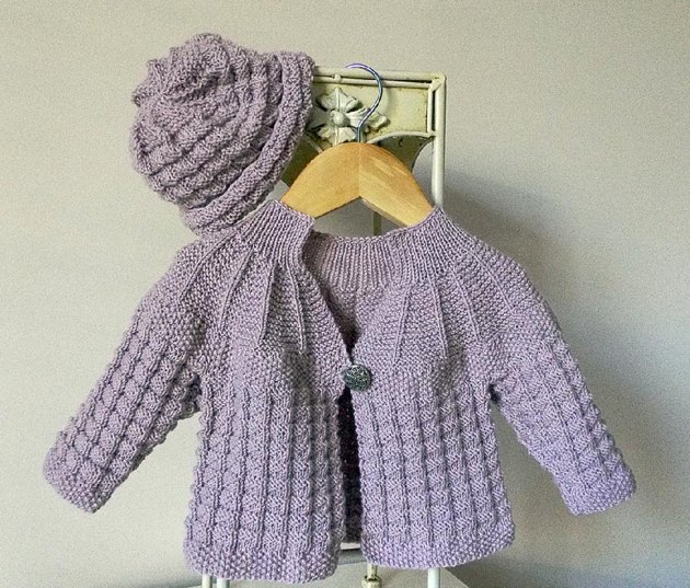Textured Round Yoke Baby Sweater with Matching Hat Knitting pattern by OGE Kn...