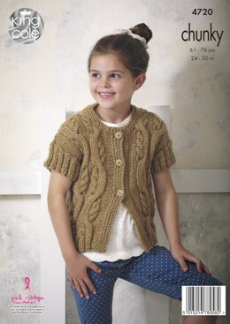 Cap Sleeved Top & Cardigan in King Cole Chunky - 4720