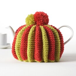 Knitted Pleated Tea Cozy in Bernat Super Value