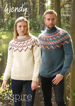 Unisex Fairisle Yoked Sweater in Wendy Aspire Chunky - 5821