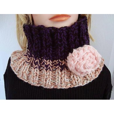 629 KNIT RIBBED PULLOVER SCARF/COWL