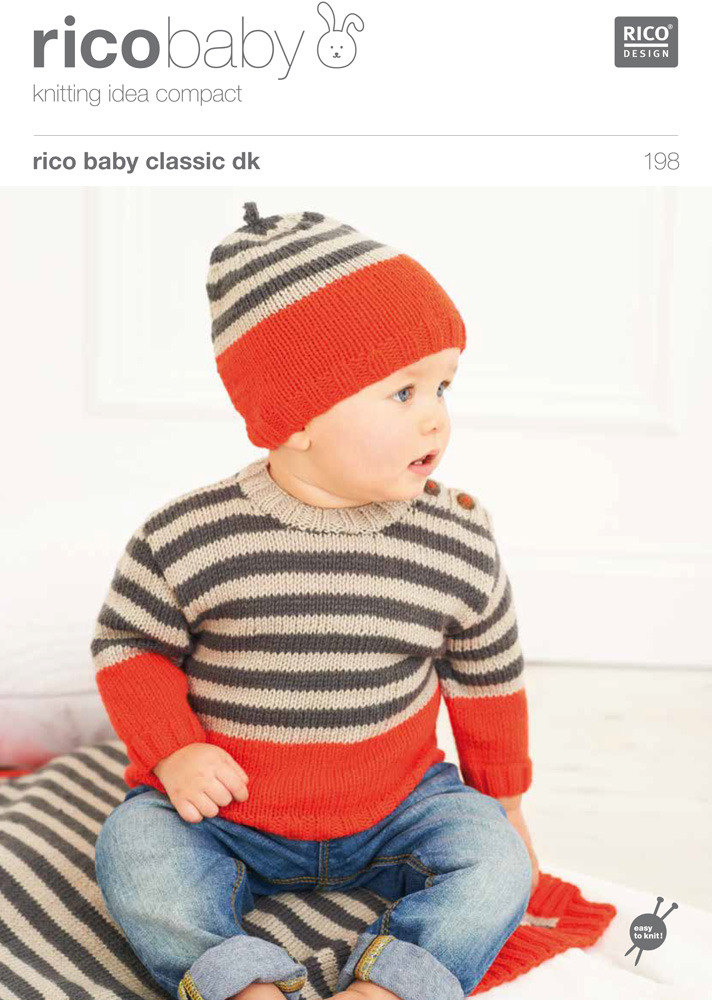 Babies Sweater Blanket And Hat In Rico Baby Classic Dk 198