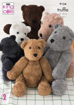 Teddies Knitted in King Cole Truffle - 9134 - Downloadable PDF