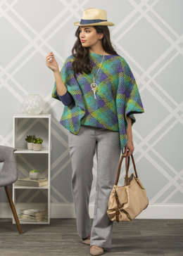 Loch Ness Crochet Poncho in Premier Yarns Everyday Plaid - Downloadable PDF
