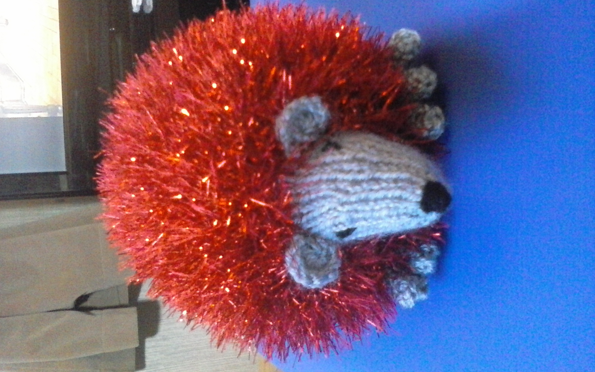 tinsel hedgehog knitting project by Catherine J LoveKnitting