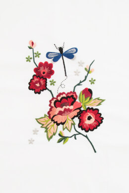 Autumn Peony Flower & Good Luck Dragonfly in DMC - PAT0014 - Downloadable PDF