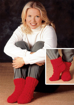 Red Hot Slipper Socks in Lion Brand Wool-Ease Thick & Quick - 1200AD