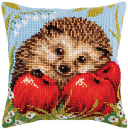 Collection D'Art Hedgehog with Apples Cross Stitch Cushion Kit