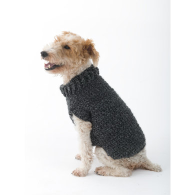 Knitting Patterns For Dog Hoodies : Poet Dog Sweater in Lion Brand Homespun - L32350 Knitting Patterns LoveKn...