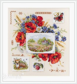 Merejka Summer Sampler Cross Stitch Kit - 30cm x 32cm